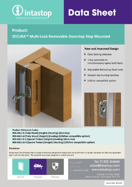 Data Sheet - SECURAStop Multi Lock Removable Doorstop GEN2