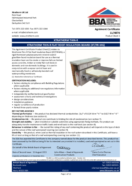 11/4878 Xtratherm Thin-R Flat Roof Insulation Board (XT/FR-MG) (Product Sheet 3)