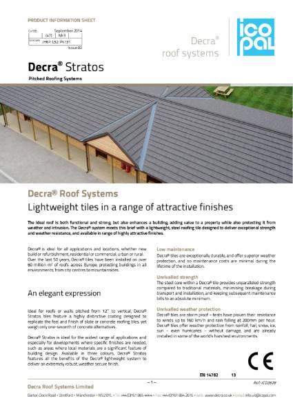 Decra Stratos Information Sheet