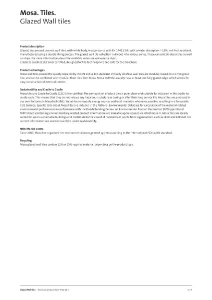 16. Technical product datasheet - Glazed wall tiles