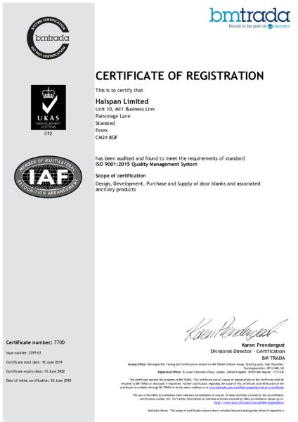 Halspan ISO 9001 Certificate