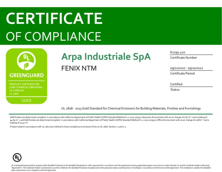 Greenguard Gold certificate 2021