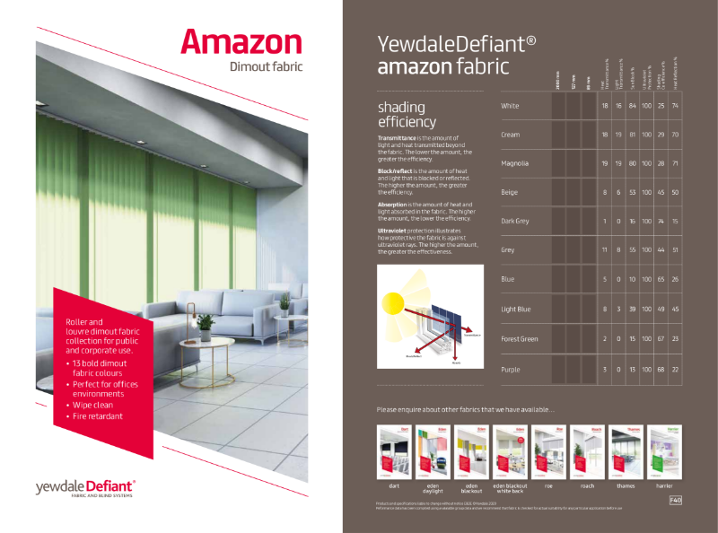 YewdaleDefiant® Amazon Dimout fabric for blind systems