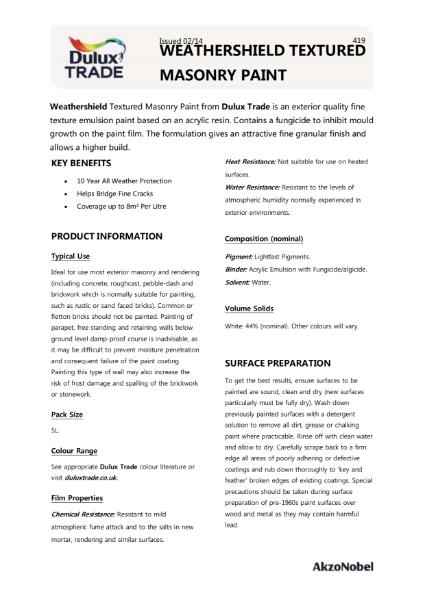 Dulux Trade Weathershield Textured Masonry