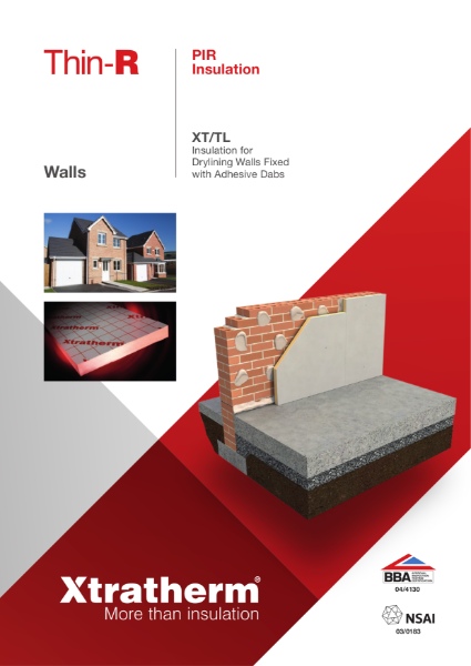 Insulation for Drylining Walls Fixed with Adhesive Dabs (XT/TL)