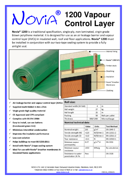 Novia 1200 Gauge Polythene Vapour Control Layer