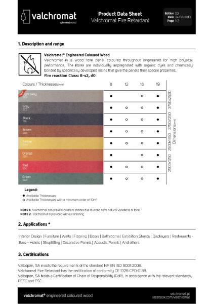 Valchromat Fire Retardant Product Data Sheet
