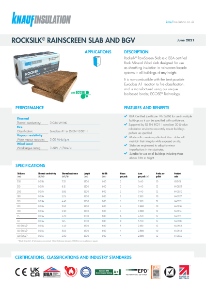 Knauf Insulation Rocksilk® RainScreen Slab Insulation Data Sheet