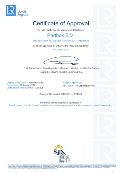 Parthos factory ISO 9001 Certificate