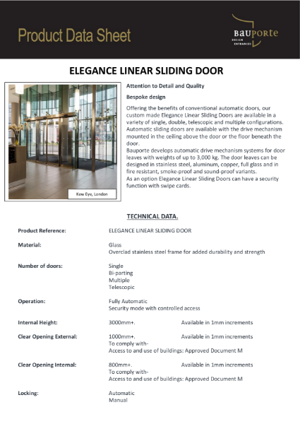 Bauporte Linear Sliding Doors