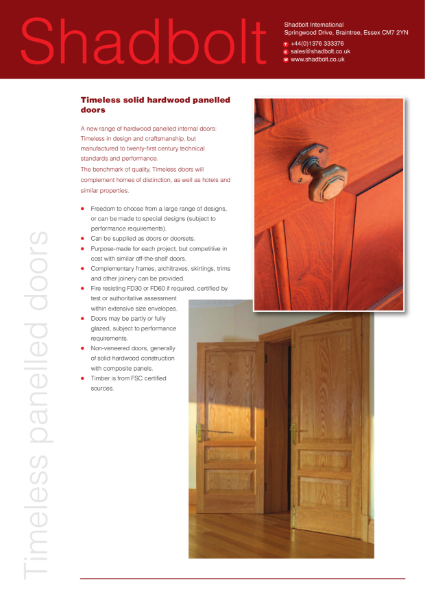 Timeless solid hardwood panelled doors