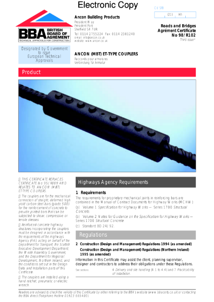 98/R102 Concrete reinforcement couplers