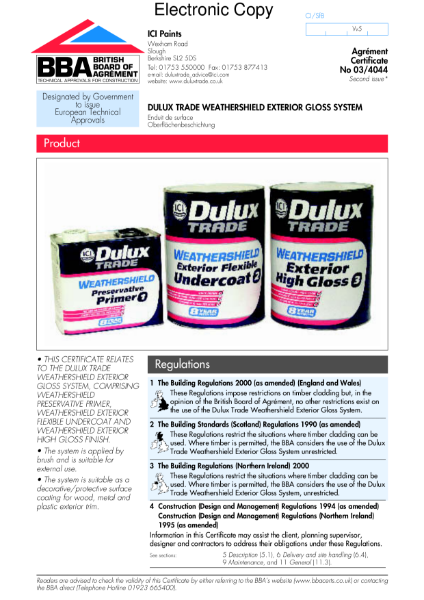 03/4044 Dulux Trade Weathershield exterior gloss system