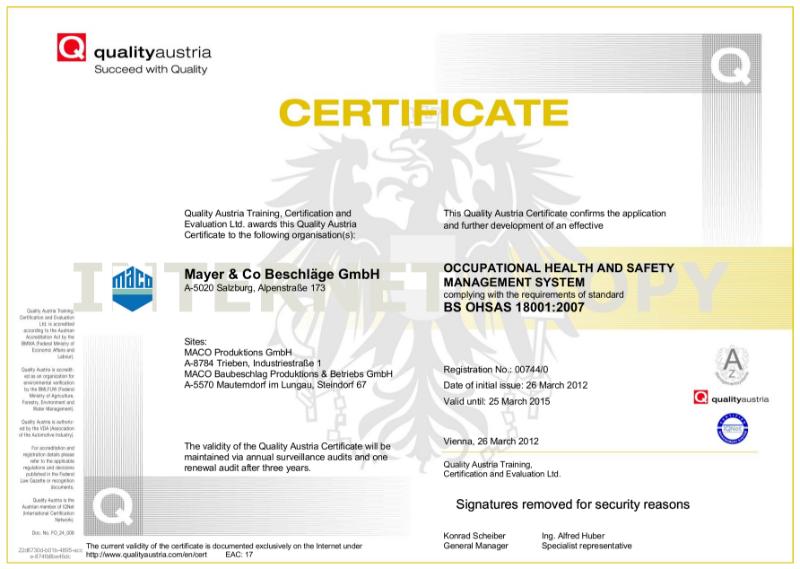 BS OHSAS 18001: 2007