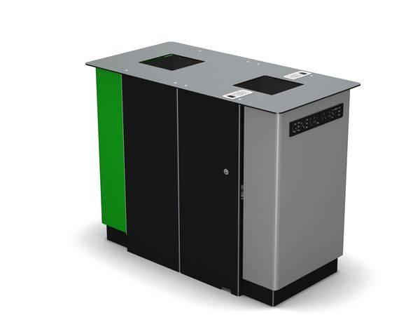 Arca Dual Compartment Square Litter Bin