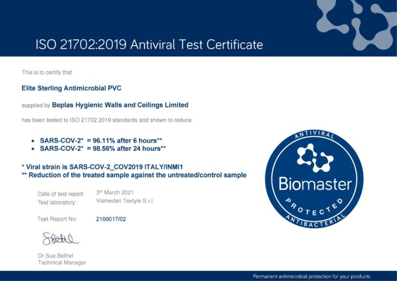 Beplas Elite Sterling Efficacy against SARS COV-2 Test Certificate