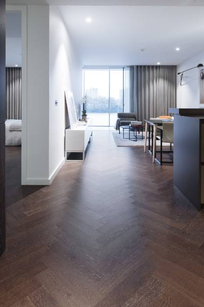 Mapei wood flooring adhesives used to install luxury flooring at prestigious Battersea Power Station apartments - (phase 1).