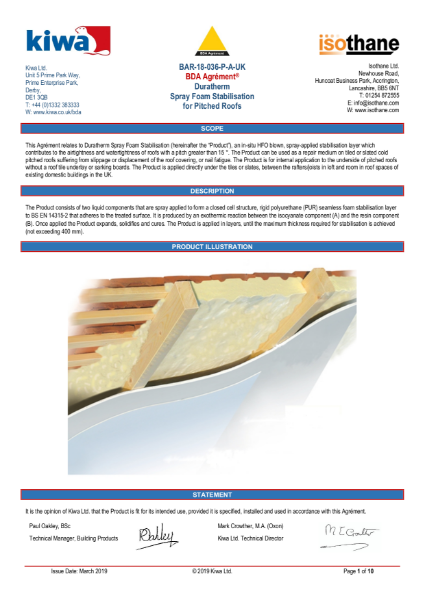 Duratherm roof stabilisation