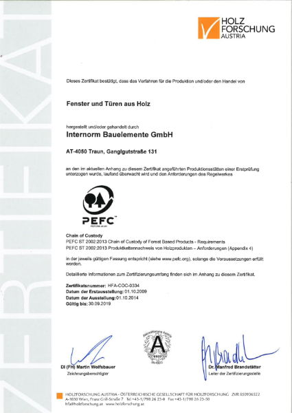 PEFC ST 2002:2013 Chain of Custody of Forest Based Products - Requirements & PEFC ST 2002:2013 Produktkettennachweis von Holzprodukten - Anforderungen (Appendix 4)