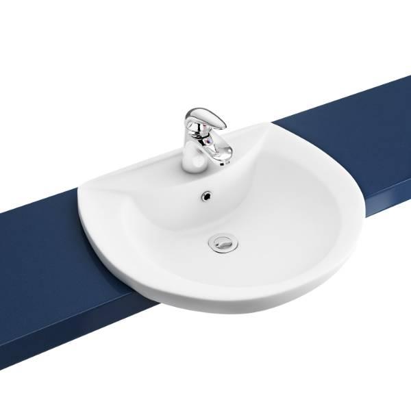 Atlas 50 cm C shaped semi recessed basin 1TH