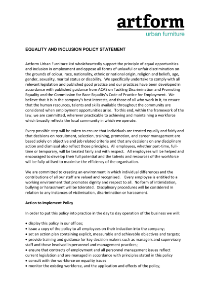 Equality Inclusion Policy Statement - 2019