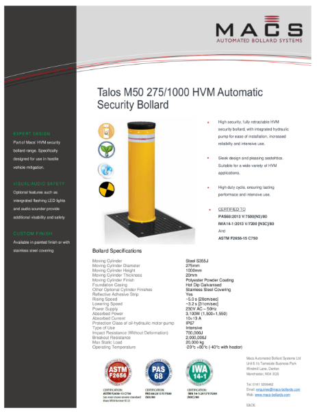 Macs Talos M50 HVM Automatic Bollard Data Sheet