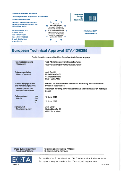 European Technical Approval ETA-13/0385