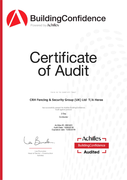 BuildingConfidence by Achilles Certificate of Audit