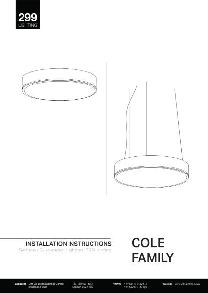 Cole Suspended Feature Lighting Installation Instruction
