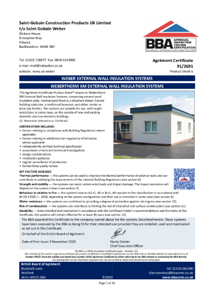 91/2691 Weber.Therm XM External Wall Insulation System (Product Sheet 6)
