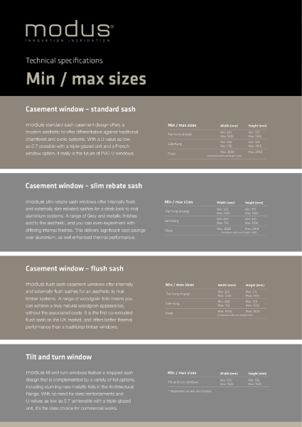 Modus Min / Max Sizes Technical Specification