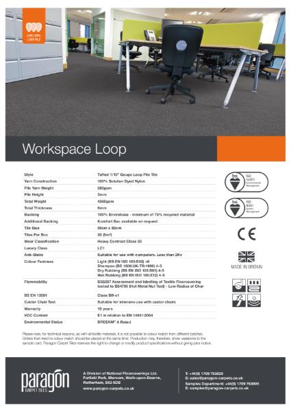 Paragon Carpet Tiles - Workspace Loop - Specification Information