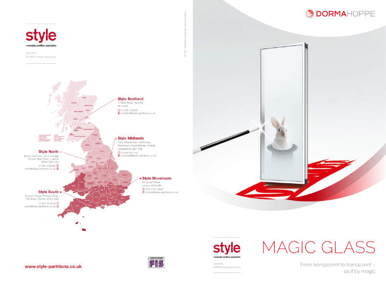 Glass moveable wall - clear or opaque, at the flick of a switch