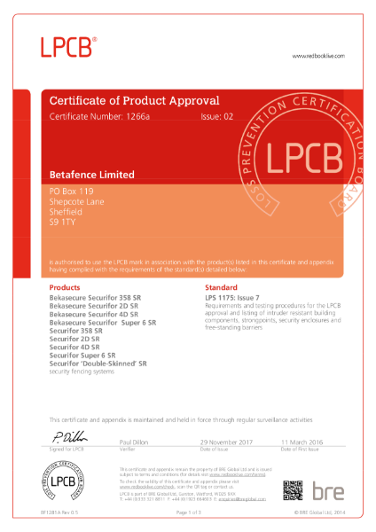 Certificate of Product Approval