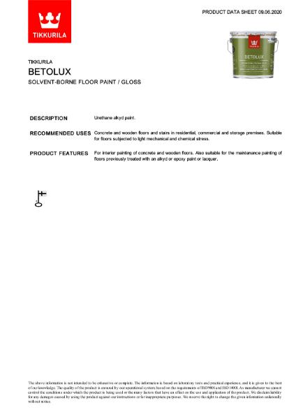 Betolux Floor Paint TDS