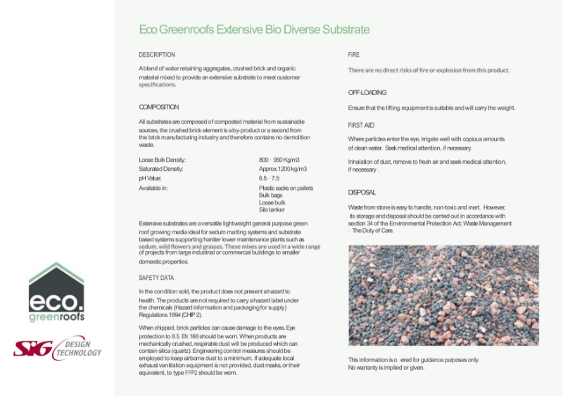 Eco Green Roofs Extensive Bio Diverse Substrate Datasheet