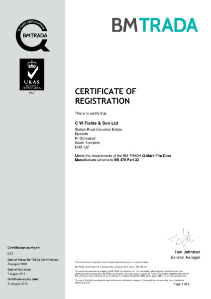 BM Trada Q-Mark Certificate