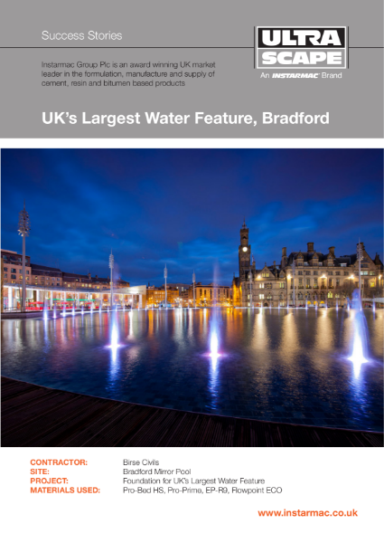 Mortar Paving System used on the UK's Largest Water Feature
