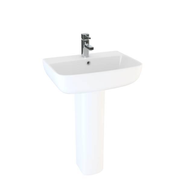 Designer Series 6 45 cm 1TH basin and pedestal