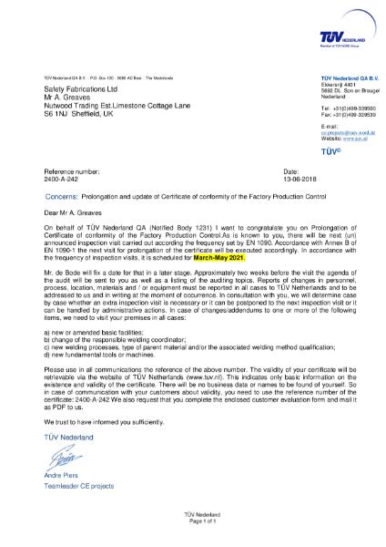 EN 1090 Certificate of Conformity of Factory Production Control