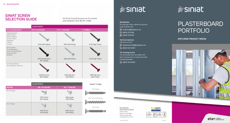 The Siniat Range: Boards, Frames, Fixings & Finishings.