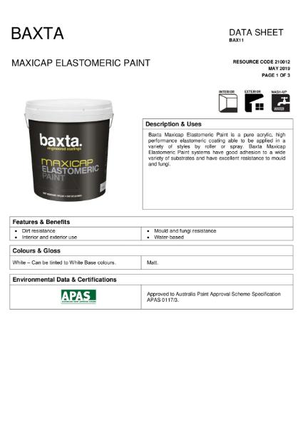BAX 11 Maxicap elastomeric paint TDS