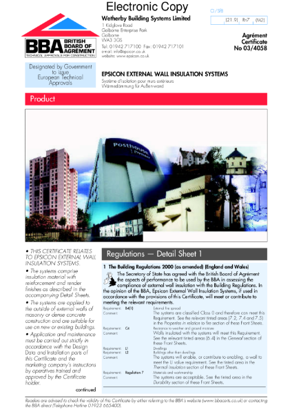 03/4058 Epsicon External Wall Insulation System