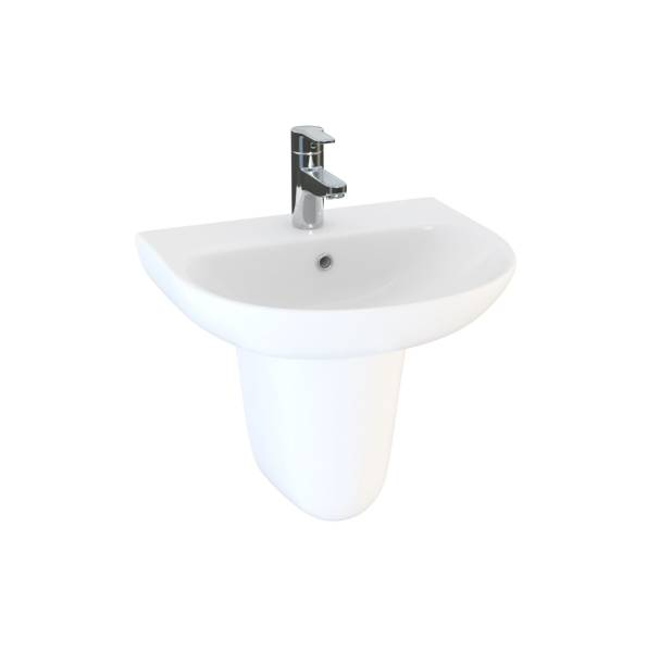 Designer Series 5 60 cm 1TH basin and semi pedestal