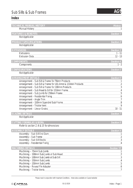 Technical Manual AGS Sub- Frames Capral 2020 12 01