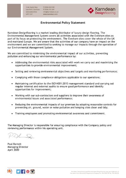 Karndean Designflooring Environmental Policy