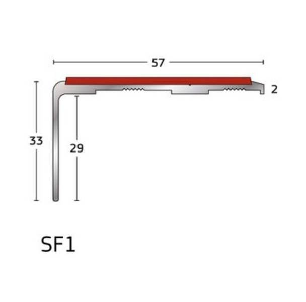 S Range - Traditional Aluminium Slenderline Stair Nosing/ Stair Edging for Vinyl Floorcoverings