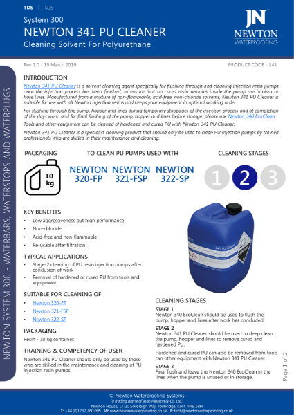 Newton 341 PU Cleaner Data Sheet