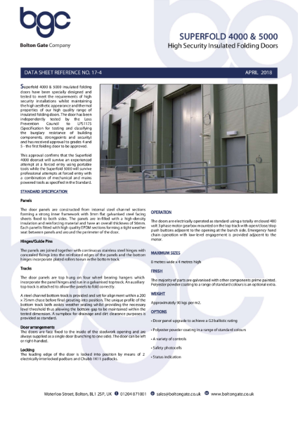 Superfold 4000 & 5000 - High Security Insulated Folding Doors
