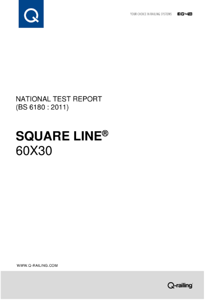 BS 6180 Test report Q-railing Square Line 60x30 posted railing system